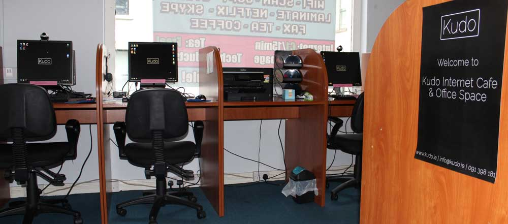 A picture of the inside of Kudo's internet cafe and office located on 15 Upper Abbeygate Street
